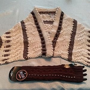 Knit wrap and fingerless gloves